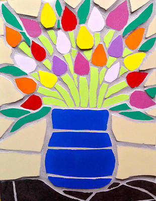 Ceramic Art - Mosaic Vase Of Multicoloured Tulips by Felicity Ball
