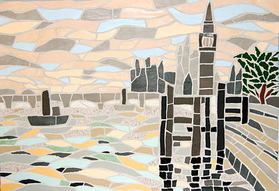 Mixed Media - Mosaic View Of The Thames And Big Ben In London by Felicity Ball