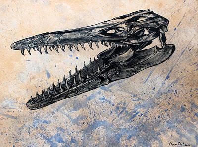 Mosasaurus Skull Original by Harm  Plat