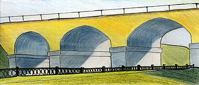 Drawing - Moscow. Andronikov Viaduct by Lelia Sorokina