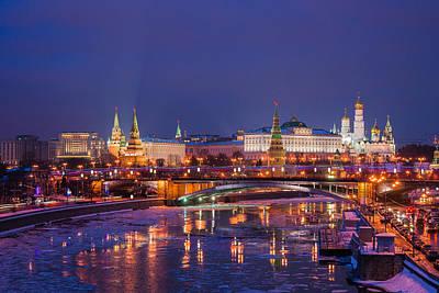 Moscow Kremlin And Big Stone Bridge At Winter Night - Featured 3 Art Print by Alexander Senin