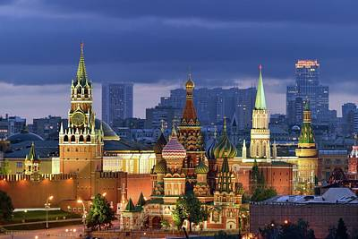 Skyscraper Photograph - Moscow Kremlin And St Basil Cathedral by Vladimir Zakharov