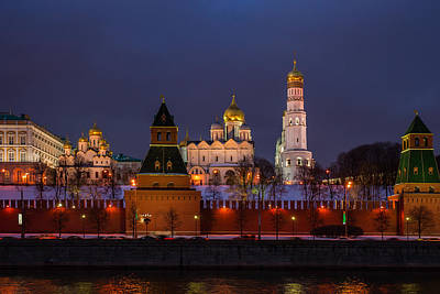 Moscow Kremlin Cathedrals At Night - Featured 3 Art Print