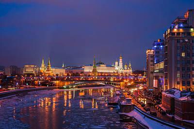Moscow Kremlin Illuminated Art Print by Alexander Senin