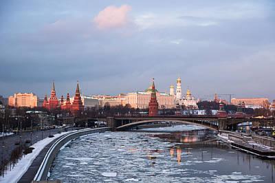 Moscow Kremlin In Winter Evening - Featured 3 Art Print by Alexander Senin