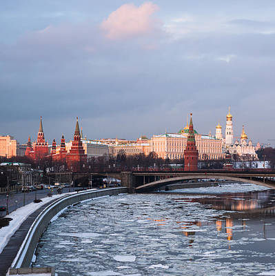 Moscow Kremlin In Winter Evening - Square Art Print