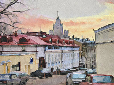Moscow Old Streets 1 Art Print by Yury Malkov