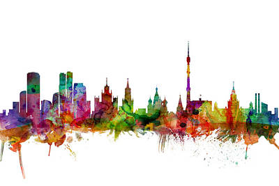Russia Digital Art - Moscow Russia Skyline by Michael Tompsett