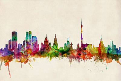 Moscow Skyline Art Print by Michael Tompsett