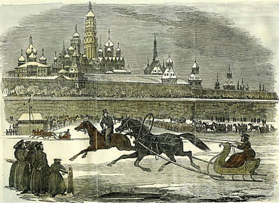 Moscow Drawing - Moscow Sledging 1850 Russia Horse by English School