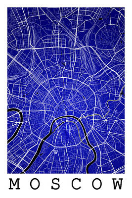 Russia Digital Art - Moscow Street Map - Moscow Russia Road Map Art On Color by Jurq Studio