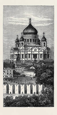 Moscow Drawing - Moscow The Church Of The Saviour Russia 1874 by English School