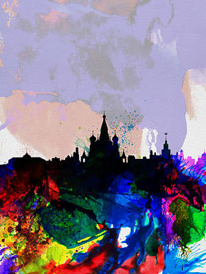 Moscow Skyline Painting - Moscow Watercolor Skyline by Naxart Studio