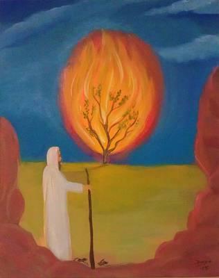 Burning Bush Painting - Moses And The Burning Bush by Deyanira Harris
