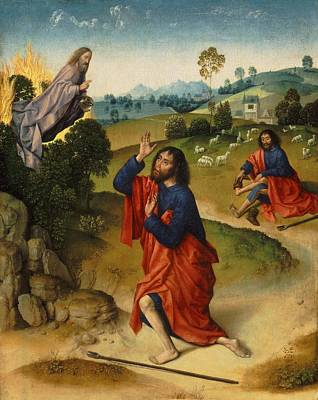 Burning Bush Painting - Moses And The Burning Bush by Dieric Bouts
