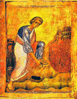 Greek Icon Painting - Moses And The Burning Bush by George Rossidis