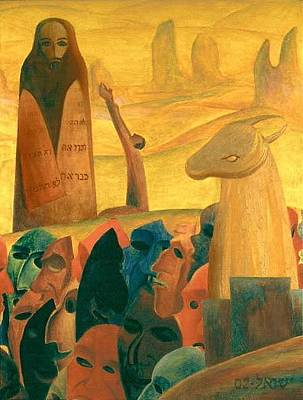 American Jewish Artists Painting - Moses And The Masks by Israel Tsvaygenbaum
