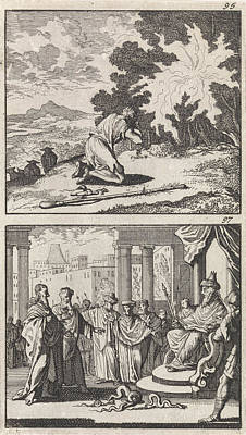 Burning Bush Drawing - Moses At The Burning Bush, Moses And Aaron by Caspar Luyken And Barent Visscher And Andries Van Damme
