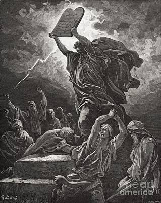 Engraving Drawing - Moses Breaking The Tablets Of The Law by Gustave Dore