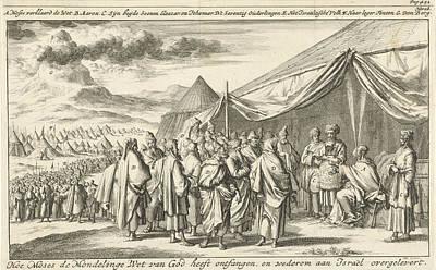 Choosing Drawing - Moses Chooses The Seventy Elders, Print Maker Jan Luyken by Jan Luyken And Timotheus Ten Hoorn