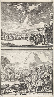 Thunder Drawing - Moses Explains The Ten Commandments To The Elders On Mount by Caspar Luyken And Barent Visscher And Andries Van Damme
