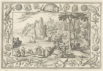 Coastal Landscape Drawing - Moses Is Found By The Daughter Of The Pharaoh by Adriaen Collaert And Hans Bol And Eduwart Van Hoeswinckel
