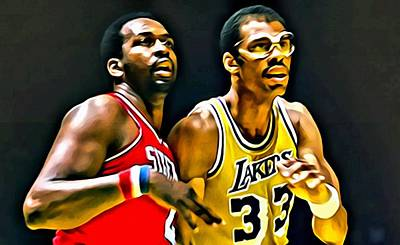 Sixers Painting - Moses Malone With Kareem Abdul-jabbar by Florian Rodarte