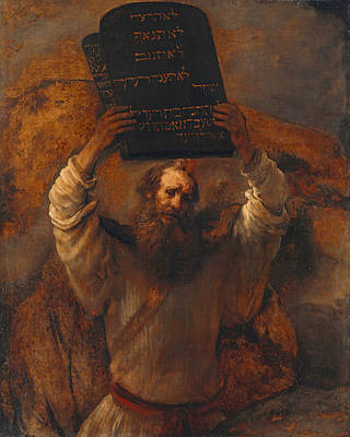 Moses Smashing The Tablets Of The Law Art Print by Rembrandt