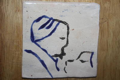 Sgrafittie Ceramic Art - Moses - Tile by Gloria Ssali