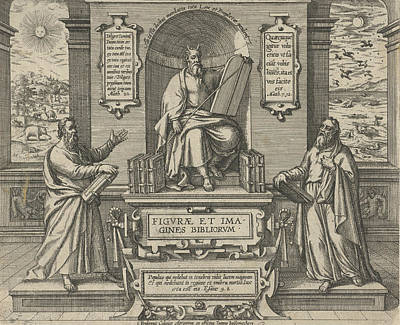 Sun Rays Drawing - Moses With The Law In The Company Of Two Prophets by Johann Bussemacher
