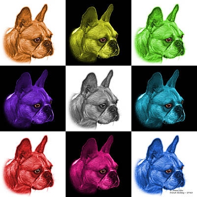 Painting - Mosiac French Bulldog Pop Art - 0755 V2 - M by James Ahn