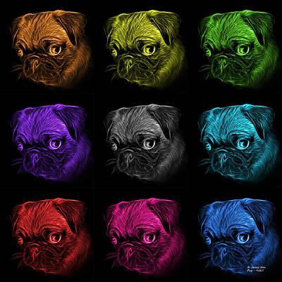 Digital Art - Mosiac Pug Pop Art -  9567 Fs M - B by James Ahn