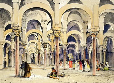 Cathedral Drawing - Mosque At Cordoba, From Sketches by John Frederick Lewis