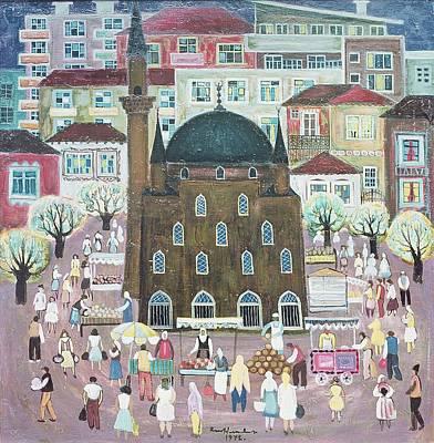 Folk Art Photograph - Mosque In Razgrad, 1972 Oil On Canvas by Radi Nedelchev