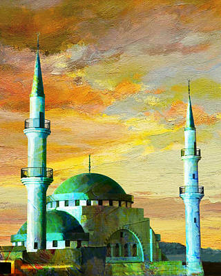 Rabat Painting - Mosque Jordan by Catf