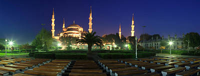 Mosque Lit Up At Night, Blue Mosque Art Print by Panoramic Images