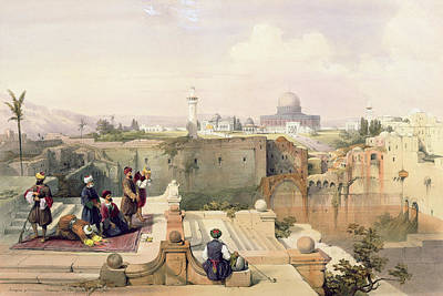 Jerusalem Drawing - Mosque Of Omar Showing The Site Of The Temple, Plate 8 From Volume I Of The Holy Land  by David Roberts