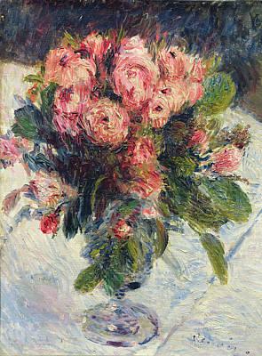 Floral Painting - Moss Roses by Pierre Auguste Renoir