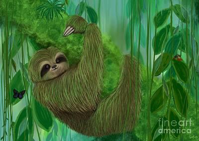 Mossy Three Toed Sloth Art Print by Nick Gustafson