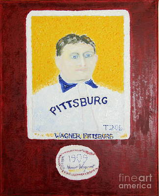 Most Expensive Card T206 Honus Wagner And Signed Baseball Art Print by Richard W Linford