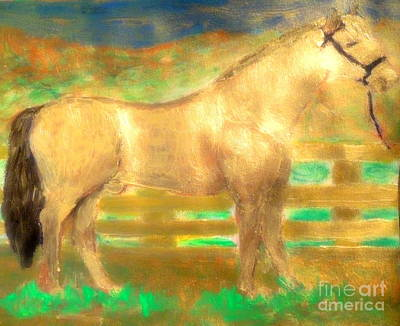 Painting - Most Expensive Horse Fusaichi Pegasus Gold Sixty Million Dollars by Richard W Linford