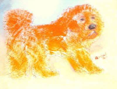 Painting - Most Expensive Puppy Red Tibetan Mastiff Big Splash Sold For One And A Half Million Dollars by Richard W Linford
