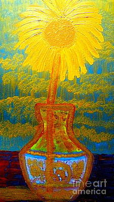 Painting - Most Expensive Chinese Qing Dynasty Eighty Five Million Dollar Vase And Van Gogh Gold Sunflower 1 by Richard W Linford