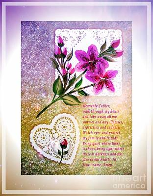 Most Powerful Prayer With Doilies And Lilies Print by Barbara Griffin
