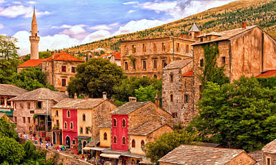 Art Print featuring the painting Mostar by Michael Pickett