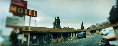 Focus On Background Photograph - Motel At The Roadside, Aurora Avenue by Panoramic Images