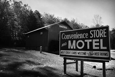Photograph - Motel Sign In Black And White by Kelly Hazel