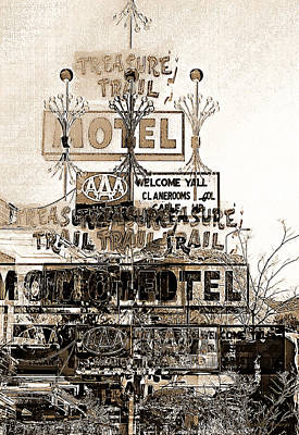 Abstract Digital Light Trails Photograph - Motel Treasures by Barbara D Richards