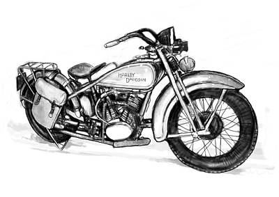 Stylized Drawing - Motercycle  Drawing Art Sketch - 1 by Kim Wang