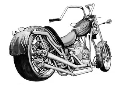 Harley Davidson Art Painting - Motercycle Drawing Art Sketch - 5 by Kim Wang